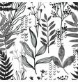 black ink seamless pattern wild flora hand drawn vector image