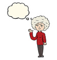 cartoon annoyed old woman waving with thought vector image