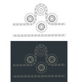 chain drive and sprocket blueprints vector image vector image