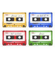 colored audio cassette mixtape retro pop rock vector image vector image