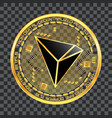 crypto currency tron golden symbol vector image vector image