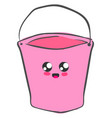 cute pink bucket on white background vector image vector image