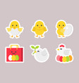 easter flat sticker icon set vector image vector image