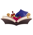 Education symbol Book diploma bell flowers and vector image vector image