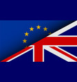 flags of eu and uk divided on half brexit theme vector image