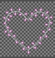 garland in the form shape of heart with glowing vector image vector image