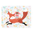 girl riding fox in pastel spring flower seamless vector image vector image