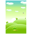 Green landscape and water falling on new plant vector image vector image
