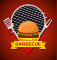 hamburger in the grill with fork and slice vector image vector image