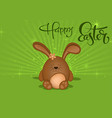 happy easter greeting card with brown bunny vector image vector image