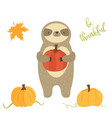 happy thanksgiving day card with cute sloth vector image vector image