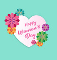 happy women day design element with white heart vector image