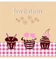 Invitation card with cakes vector image
