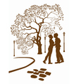 kissing couple in the park vector image