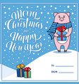 merry christmas greeting card with pig vector image vector image