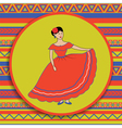 mexican woman on patterned background vector image vector image