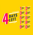 number days left banner for sale and promotion vector image