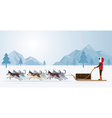 People with Arctic Dogs Sledding Panorama Backgro vector image vector image