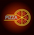 pizza neon light icon realistic style vector image