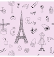 Seamless texture with the image of the Eiffel vector image vector image