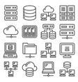 server internet and network icons set on white vector image vector image