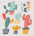 set beautiful cacti vector image vector image