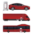set of electric vehicles vector image vector image