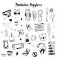 Sketch Feminine hygiene big set with tampon vector image