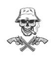 skull smoking cigar in panama hat vector image vector image