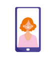 smartphone woman in screen video isolated icon vector image vector image