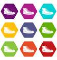 sneakers icon set color hexahedron vector image vector image