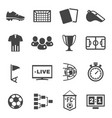soccer football black icons set isolated on white vector image