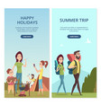 summer camping banners family trip and vector image