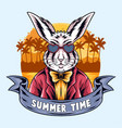 summer rabbits partying on beach vector image vector image
