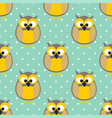 tile pattern with owls and polka dots on green vector image vector image