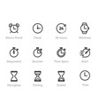 time stopwatch and clock editable line icons vector image