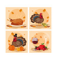turkeys of thanksgiving day with set icons vector image