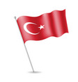 turkish flag on the flagstaff vector image vector image