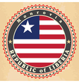 Vintage label cards of Liberia flag vector image vector image