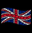 waving united kingdom flag mosaic of cloud icons vector image