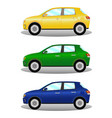 car kit hatchback in three colors vector image