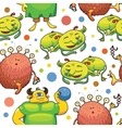 Seamless pattern of cute little monsters vector image