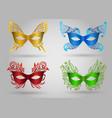 colorful carnival mask set vector image