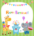 Cute Birthday Card With Animals vector image
