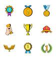 winner icons set cartoon style vector image