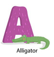 alphabet with letter a english zoowild animal vector image vector image