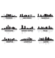 american cities skyline set vector image vector image