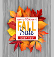 autumn sale poster fall foliage leaf bunch vector image vector image