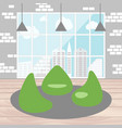bean bag chair with city view from window good vector image