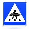 Blue square crossing road sign with surfer vector image vector image